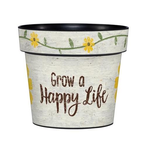 Grow a Happy Life 6 inch Art Pot