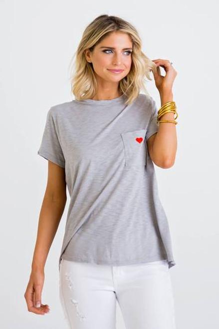 Grey Heart Pocket Top