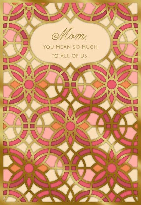 Pink and Gold Mosaic Mother's Day Card From Us