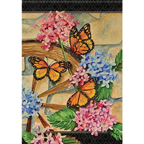 Wagon Wheel Butterflies Garden Flag