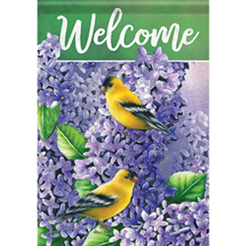 Lilacs & Goldfinch Large Flag