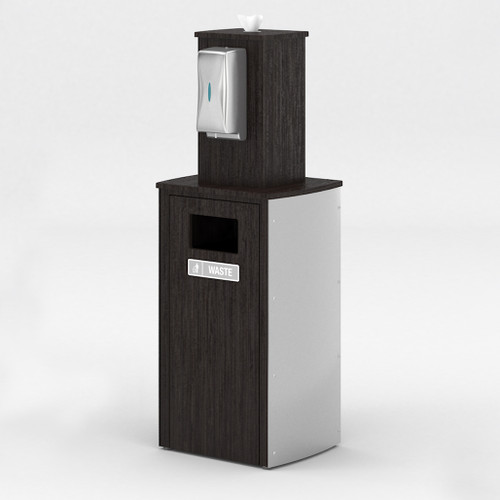 Aluminum Side Receptacle with Touchless Dispenser and Wipes