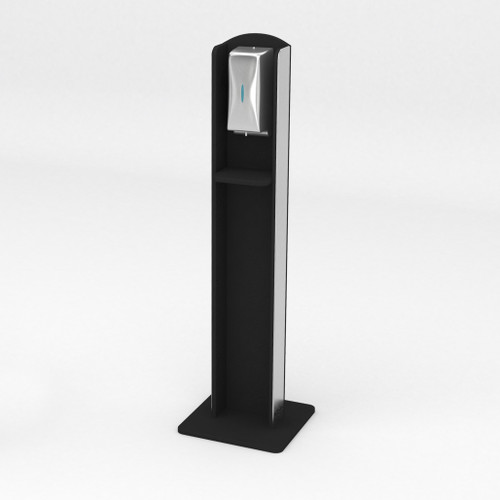 Nashotah Hand Sanitizer Stand - Black Recycled Plastic and Aluminum Sides