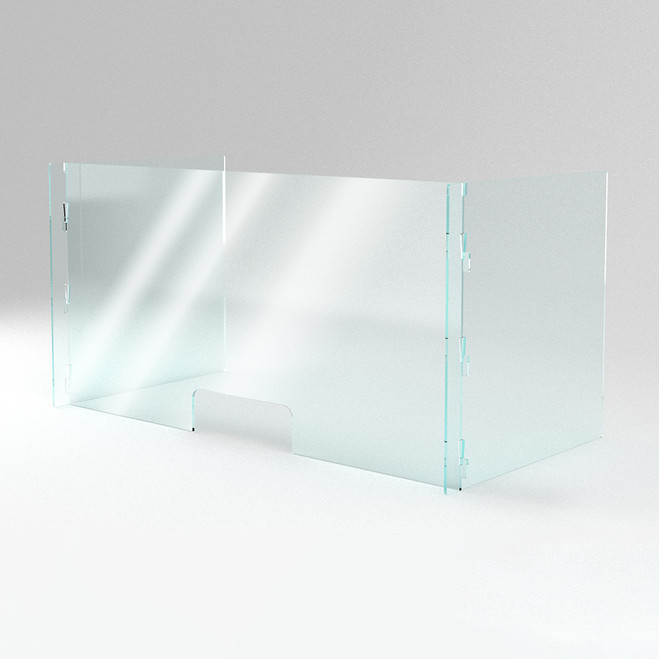 Clear, open office workspace divider