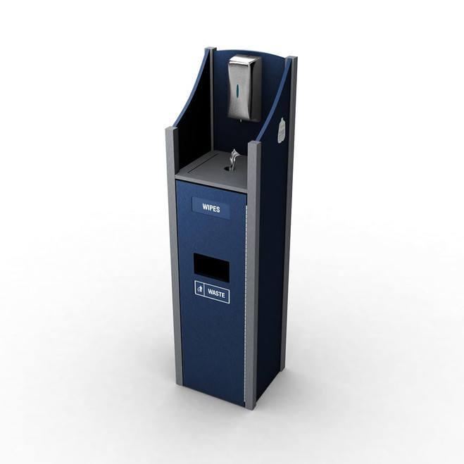 Welcome Station with Touchless Hand Sanitizer Dispenser, Wipes, Waste