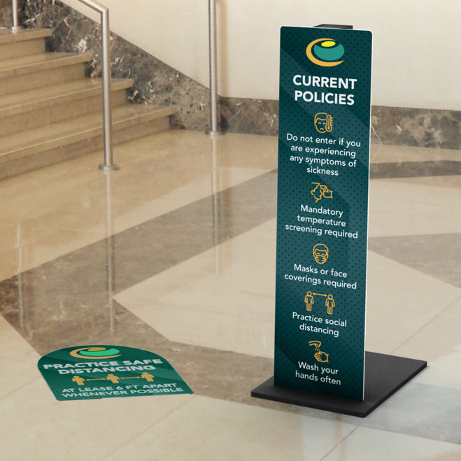 Full Panel Graphic Sign with Custom Shape Floor Graphic