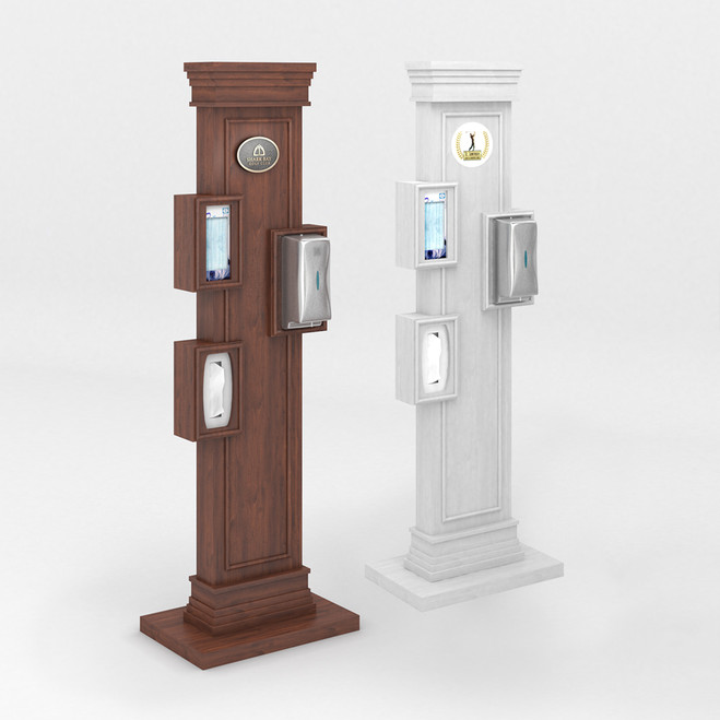 Mahogany, Aged White Staggered Panel Stands with Touchless Dispenser