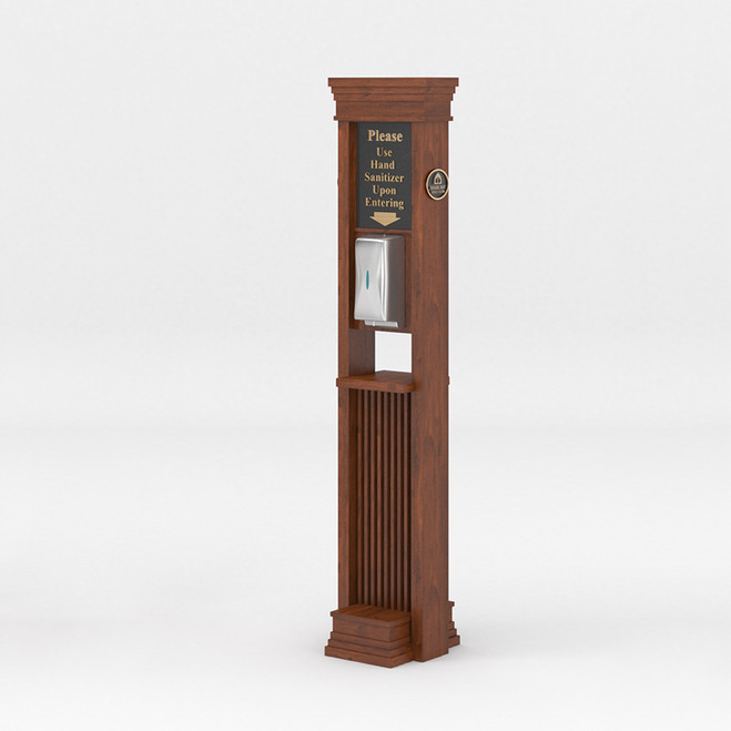 Art Deco Hand Sanitizer Stand with Touchless Dispenser and Custom Messaging