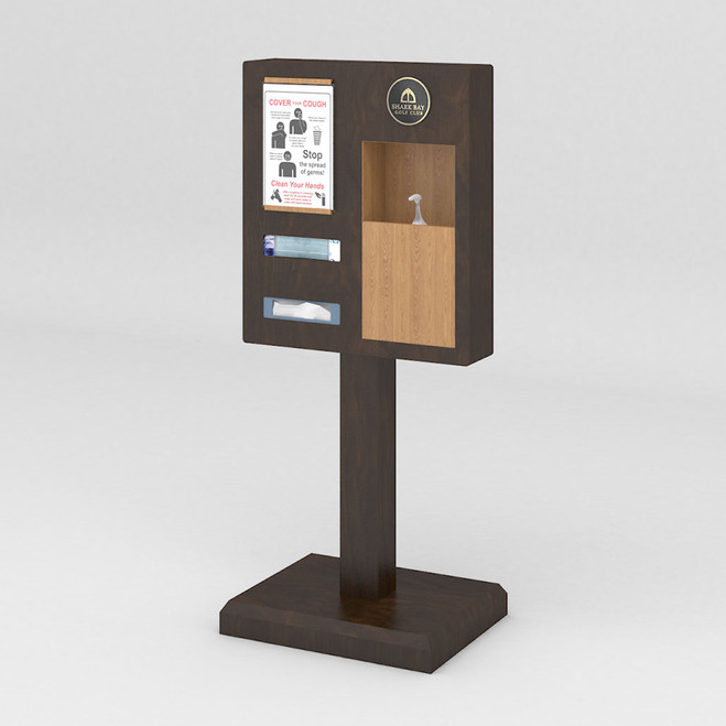 Post Mounted Square Hand Sanitizer Stand with Pump Dispenser