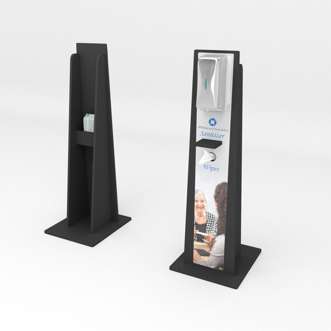 Superior Hand Sanitizer Stand with Wipe Dispenser in Front