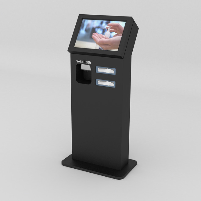 Wide Hand Sanitizer Kiosk with Digital Display