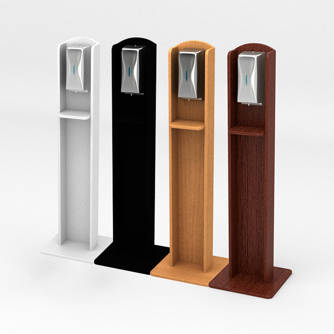 Nashotah Hand Sanitizer Stand - White Laminate, Black Laminate, Cocoa Maple Laminate, Kensington Maple Laminate