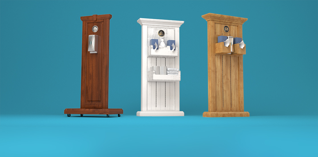 Touchless Hand Sanitizer Fixtures with configurable accessories for wipes, tissues, masks