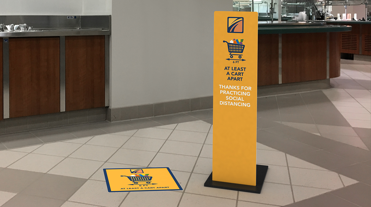 COVID Signage with Floor Sticker