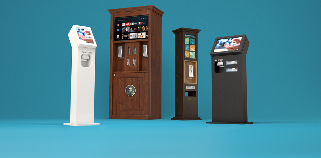 Touchless Hand Sanitizer Kiosk Displays with configurable accessories for wipes, tissues, masks
