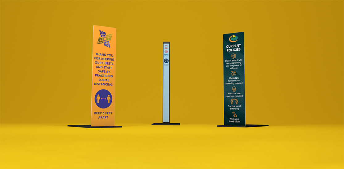 COVID Signage | Sintra on Post | Overlay Decals on Post