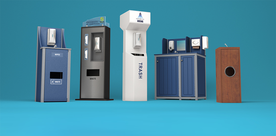 Hand Sanitizer Dispensers, Stands, and Displays that can be customized with logos, touchless dispensers, gallon sanitizer pumps, sanitizer wipes, and include custom messaging.