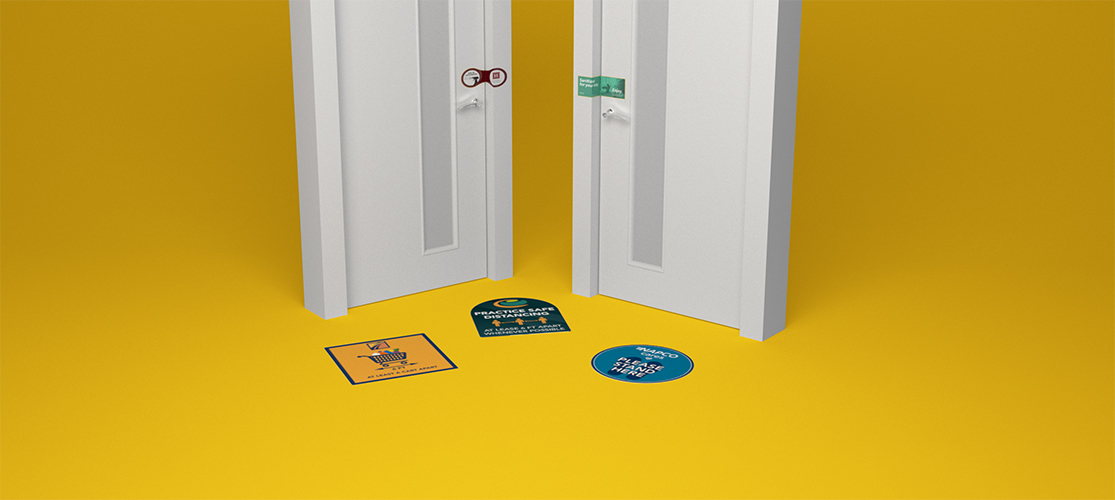 COVID Signage | floor stickers | perforated door seal