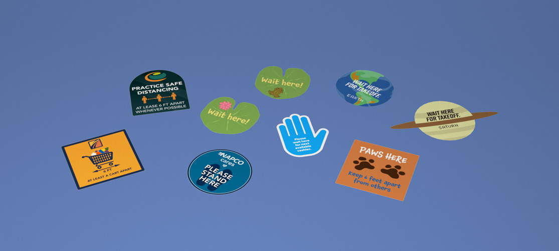 Floor Graphics for COVID safety and critical messaging