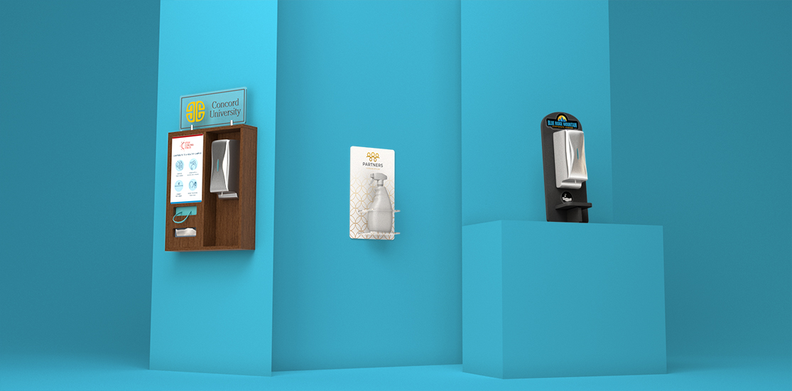 Wall Mounted Hand Sanitizer Display | Counter Touchless Sanitizer Display with configurable accessories for wipes, tissues, masks