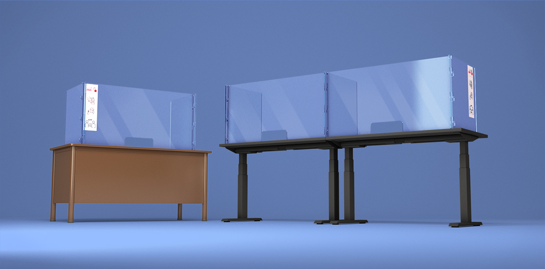 Sneeze Shield Workspace Divider in an open concept office space