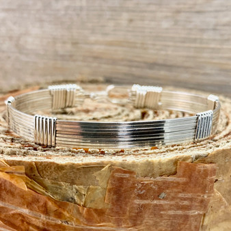 """In Stock is an all Argentium Sterling Silver bracelet in a Minimalist Style band. This bracelet is a finished size 7"""" to fit a standard size wrist. If you need a larger or smaller size, please refer to the CUSTOM TAB to make that selection. Satisfaction Guaranteed."""