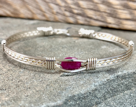Shown is a Ruby in an all Argentium Sterling Silver classic bracelet band. If you need a custom size or different metal types, please check out the CUSTOM TAB to see if we have an additional Ruby for your custom needs! Each gemstone will be pictured with pricing for each metal type. Satisfaction Guaranteed.