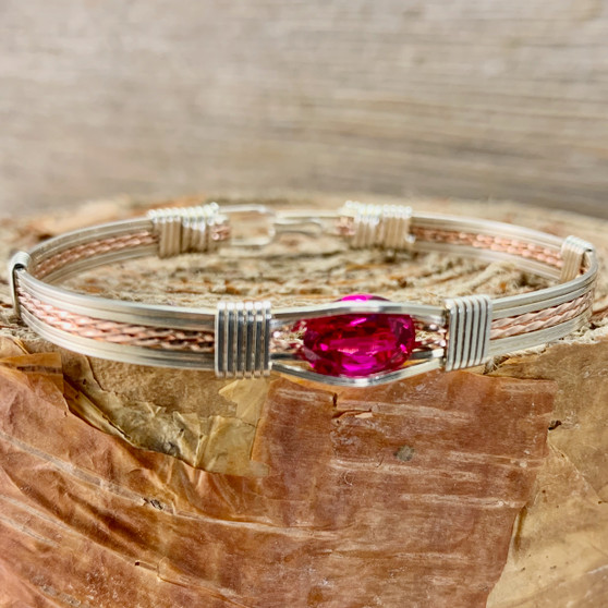 Be dazzled by the Synthetic Ruby handcrafted gemstone bracelet. This Ruby is a deep pink red color with exceptional clarity. Much more affordable than its natural counterpart, this beauty is sure to be a treasure for years to come. From time to time we also offer a natural ruby, please be sure to check out the IN STOCK section for those choices.