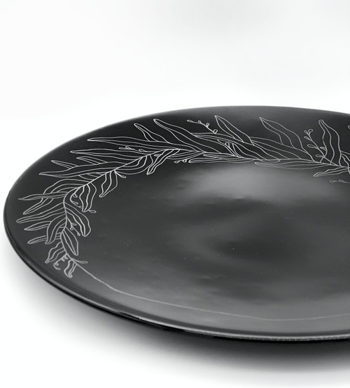 One of a kind Kiln formed and hand engraved black glass plate