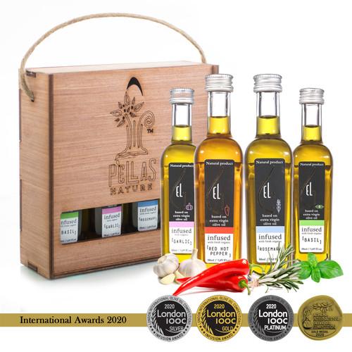 Pellas Nature Organic Herb Infused Extra Virgin Olive Oil | Finishing Oil Set | Basil | Garlic | Rosemary | Red Pepper | Wooden Gift Set | Single Origin Greek | 4 X 1.7oz Bottles