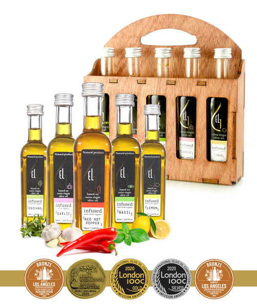 Pellas Nature Organic Herb Infused Extra Virgin Olive Oil | Finishing Oil Set | 5 infused Flavors in French Glass bottles | Wooden Gift Set | 5 X 1.7oz Each