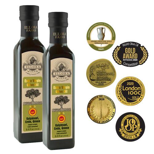 Certified Single Estate Extra Virgin Olive Oil | Traceable via lot number | First Cold Press | Kosher OU | 8.45 Oz Bottles | Pack of 2