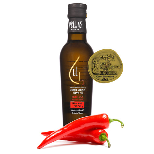 Fresh Organic Red Hot Pepper  Infused Extra Virgin Olive Oil | Ultra Premium Finishing Oil | Single Origin Greece | 8.45 Oz Bottle