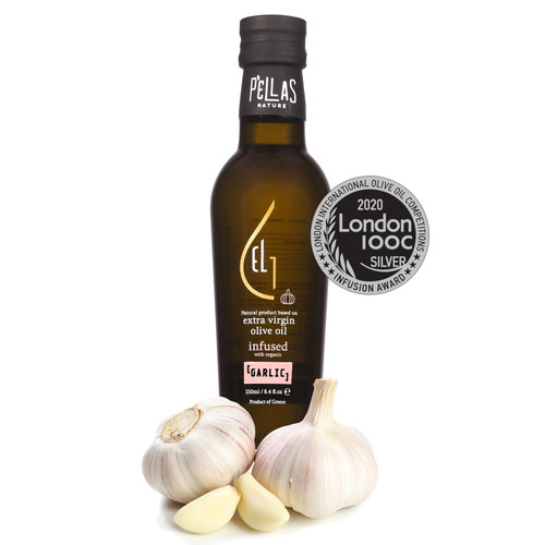 Fresh Organic Garlic  Infused Extra Virgin Olive Oil | Ultra Premium Finishing Oil | Single Origin Greece | 8.45 Oz Bottle