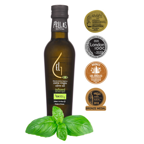 Fresh Organic Basil  Infused Extra Virgin Olive Oil | Ultra Premium Finishing Oil | Single Origin Greece | 8.45 Oz Bottle