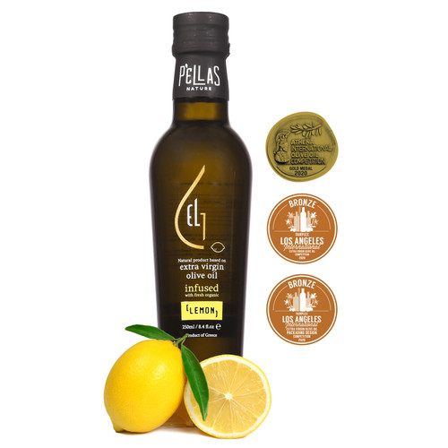 Fresh Organic Lemon Infused Extra Virgin Olive Oil | Ultra Premium Finishing Oil | Single Origin Greece | 8.45 Oz Bottle