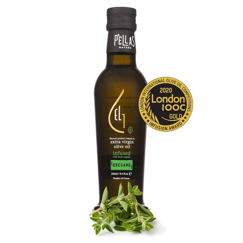 Fresh Organic Oregano Infused Extra Virgin Olive Oil | Ultra Premium Finishing Oil | Single Origin Greece | 8.45 Oz Bottle