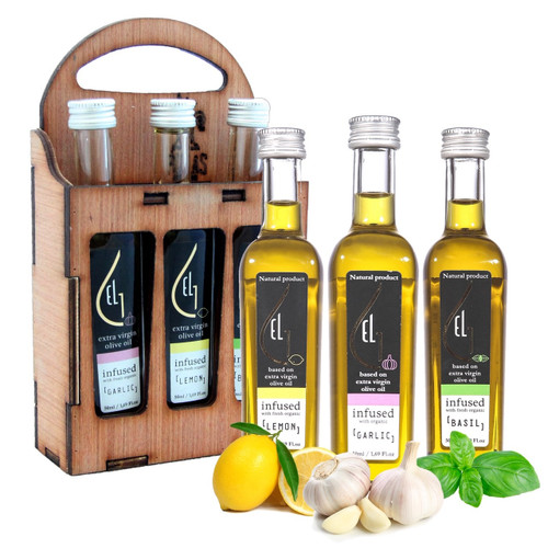 Pellas Nature Organic Herb Infused Extra Virgin Olive Oil Set | Finishing Oil Lemon, Garlic, Basil | Wooden Gift Set | Single Origin Greek | 3 X 1.7oz Bottles