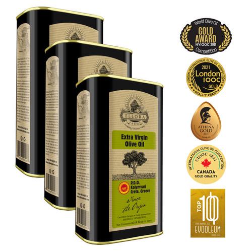 Ellora Farms Single Estate International Award Winning Extra Virgin Greek Olive Oil  3 pack