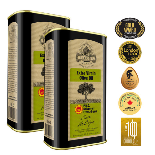 Certified PDO Extra Virgin Olive Oil | Traceable Single Origin & Single Estate Extra Virgin Olive Oil | Harvested in Crete, Greece | Kosher OU | 1 Ltr Tin, 33.8 FL oz. (Pack of 2)