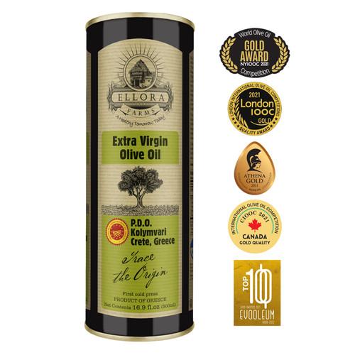 Certified Single Estate (Kolymvari) Extra Virgin Olive Oil | Cold Pressed & Traceable | PDO Koroneiki Olives, Crete, Greece | Kosher OU | BPA Free 17 Oz Tin