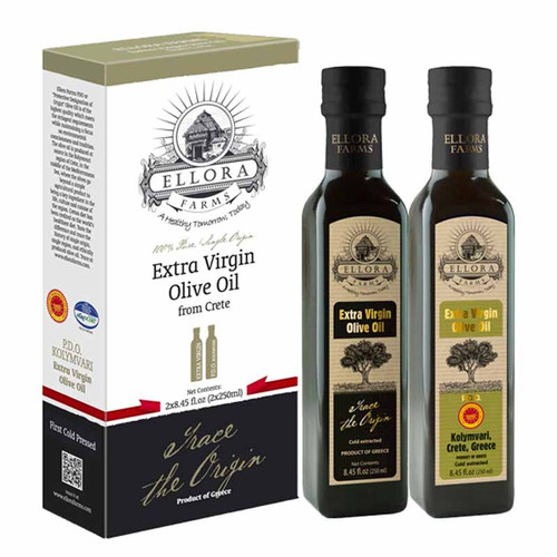 Ellora Farms | EVOO Gift Set | 100% Single Origin and Traceable Extra Virgin Olive Oil | EU Certified PDO from Greece | Fresh Harvest | First Cold Press | 8.45oz x 2 bottles