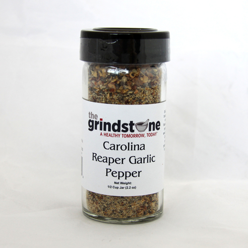 Carolina Reaper Garlic Pepper,  2.2 oz. In Glass Bottle, Non GMO