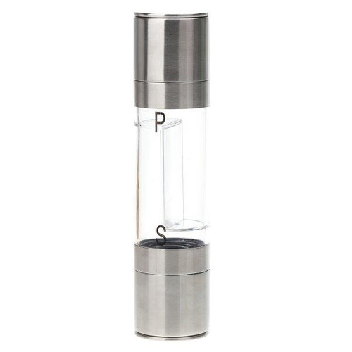 2 in 1 Salt and Pepper Grinder | Adjustable Ceramic Rotor| Salt Mill and Pepper Mill Shaker | Brushed Stainless Steel | Empty