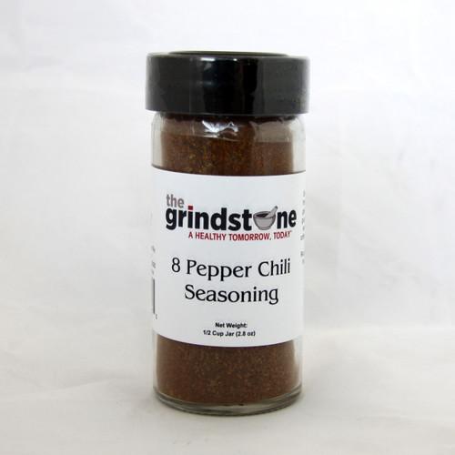 8 Pepper Chili Seasoning, 2.8 oz. In Glass Bottle, Non GMO
