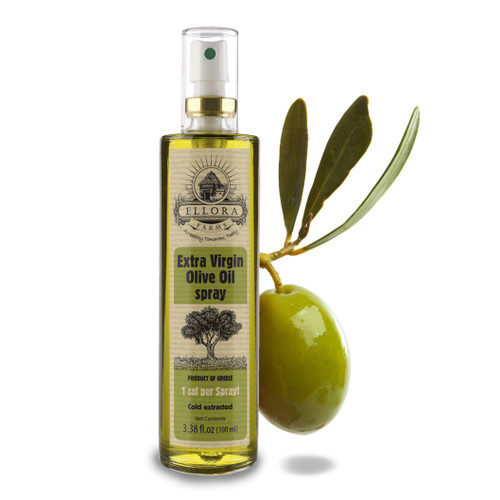 Extra Virgin Olive Oil in Glass Spray Bottle | Clog Free | One Calorie Per Spray | Single Origin & Traceable Olive Oil | Harvested in ancient Crete, Greece | 3.38 oz. Bottle | Single Pack