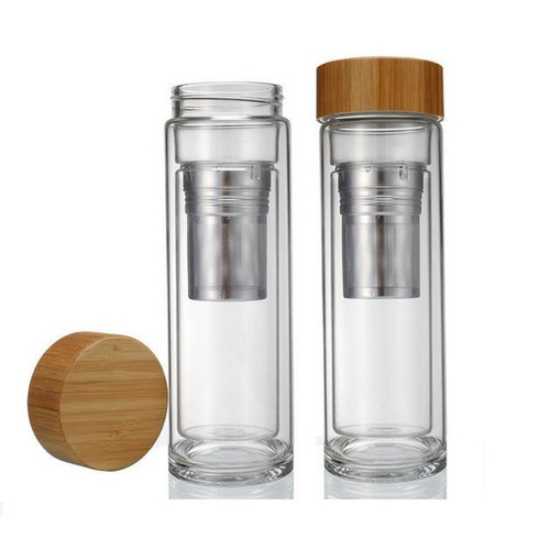 On the Go Tea Infuser | Double Walled Glass Body with Bamboo Lid | Perfect for Tea, Coffee, or Fruit Infusions | FREE Neoprene Sleeve Included | 15.2oz (450ml)