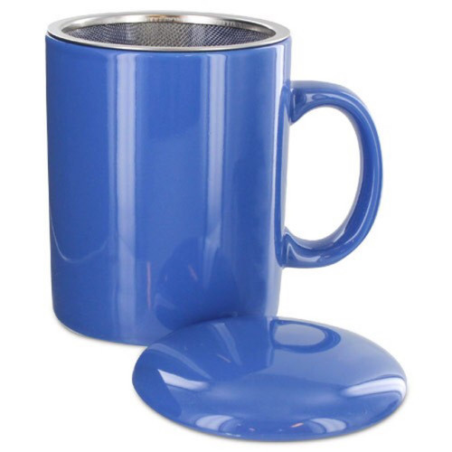 Infuser Tea Mug With Lid, 11 oz Blue