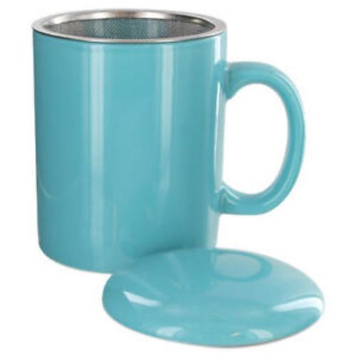 Infuser Tea Mug With Lid, 11 oz Turquoise