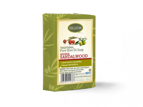 Traditional Olive Oil Soap Sandalwood Aroma | All Natural | Sandalwood Fragrance | Made in Ancient Crete, Greece | 3.53 oz.
